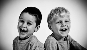Two happy boys smiling and laughing