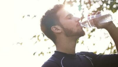 Man drinking water for dry mouth